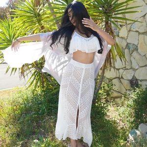 Free People Skirt/Crop Top set in ivory.